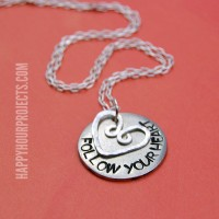 Follow Your Heart Hand Stamped Necklace | Stamping Round Blanks