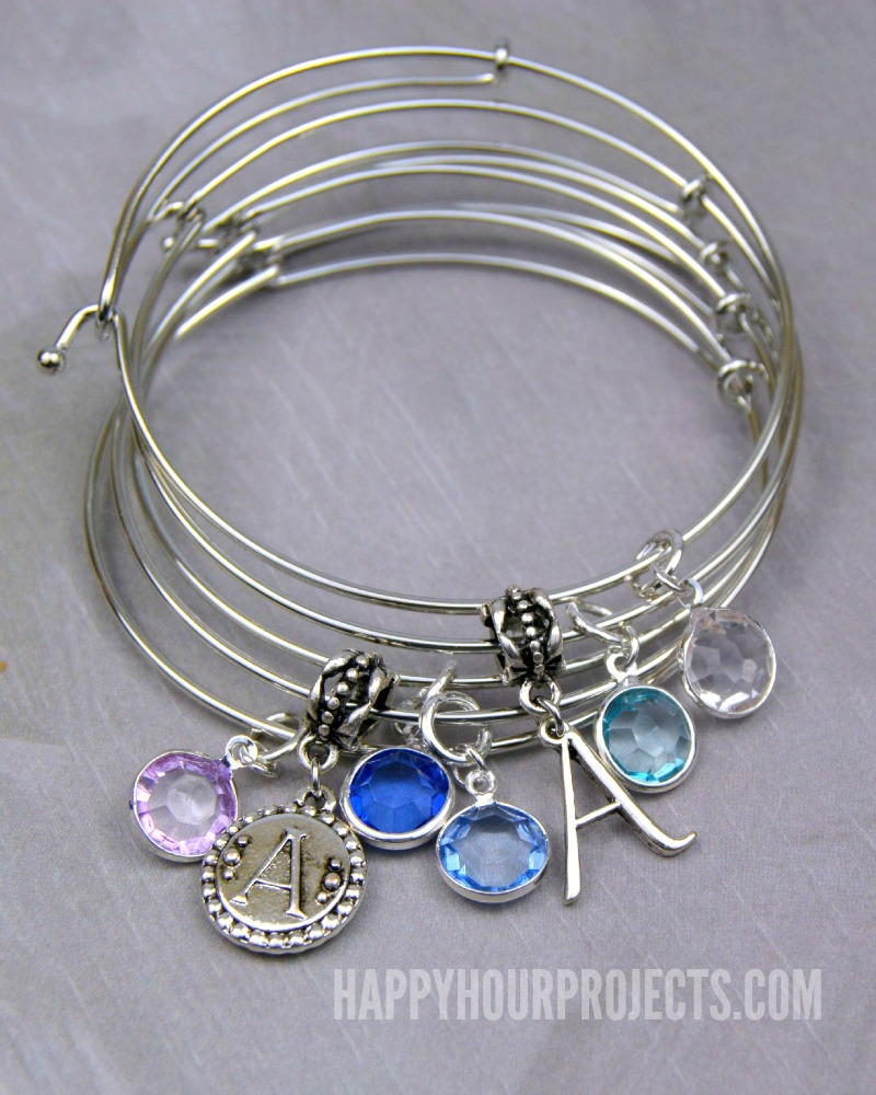 Easy DIY Charm Bangles at www.happyhourprojects.com