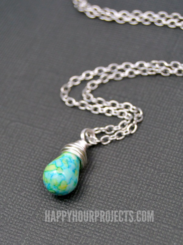 Learn to Make a Wire Wrapped Bead Pendant at www.happyhourprojects.com