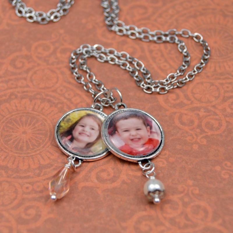 Craft Lightning Mother's Day Crafts | DIY Photo Charm Necklace at happyhourprojects.com