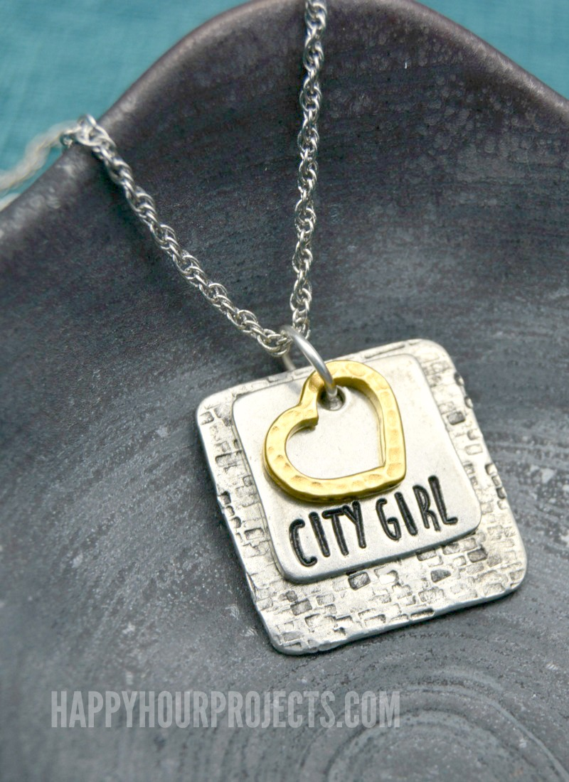 City Girl Textured Hand Stamped Necklace at happyhourprojects.com