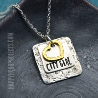 City Girl Textured Hand Stamped Necklace