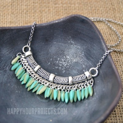Fringe Beaded Bib Necklace at happyhourprojects.com