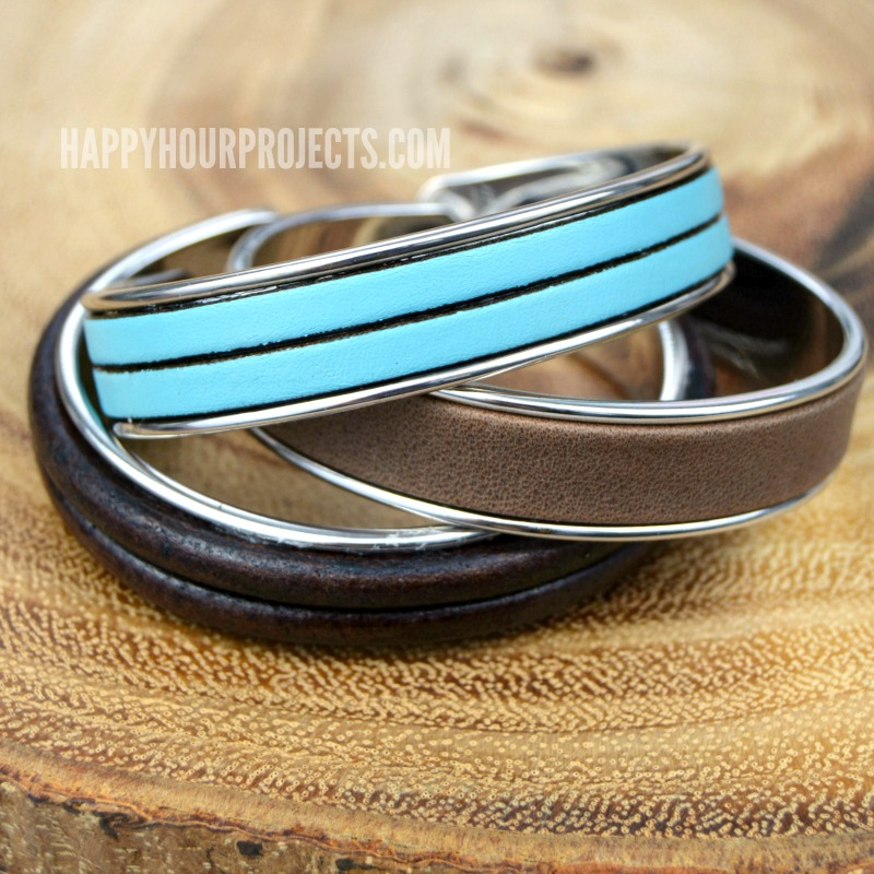 3-Minute DIY Leather Bracelet Cuff at happyhourprojects.com