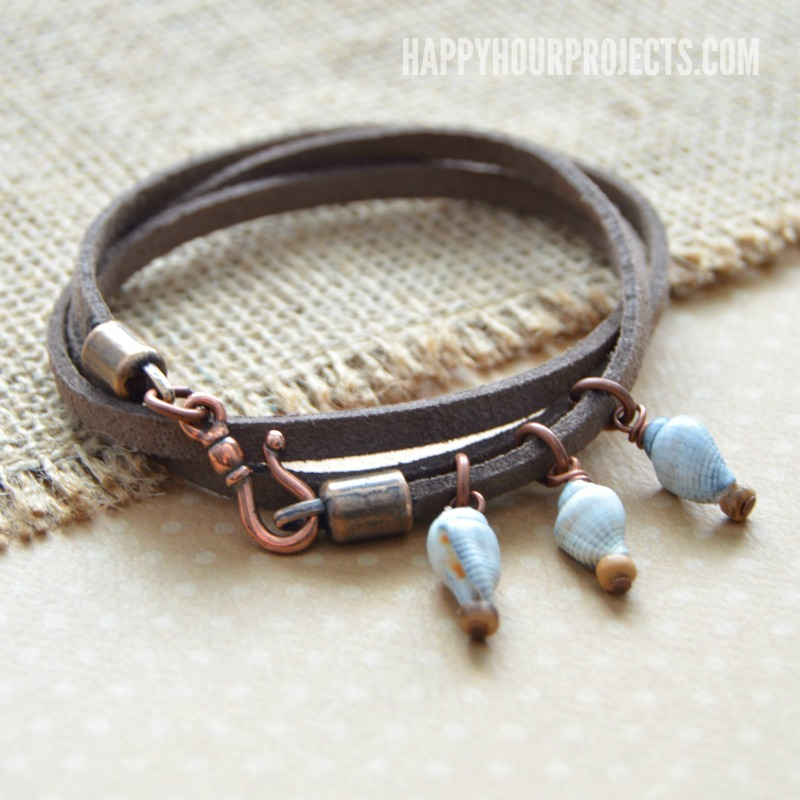 Shells and Suede Easy Wrap Bracelet at happyhourprojects.com