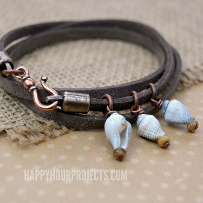Shells and Suede Easy Wrap Bracelet