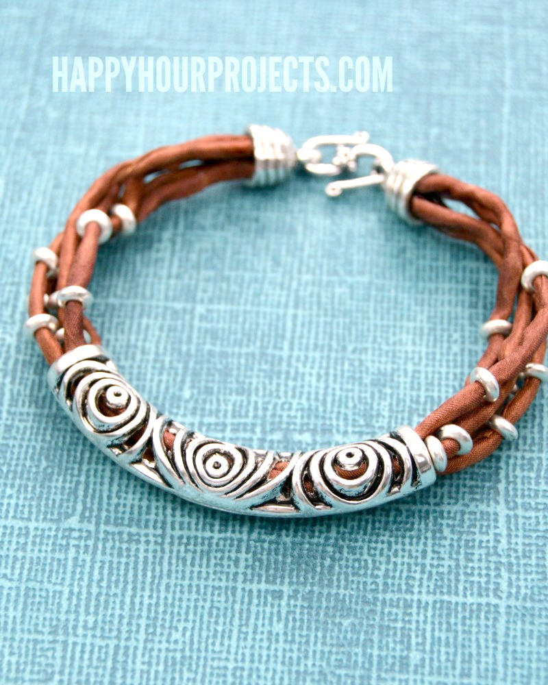Silk & Silver Layered Tube Bead DIY Bracelet at happyhourprojects.com