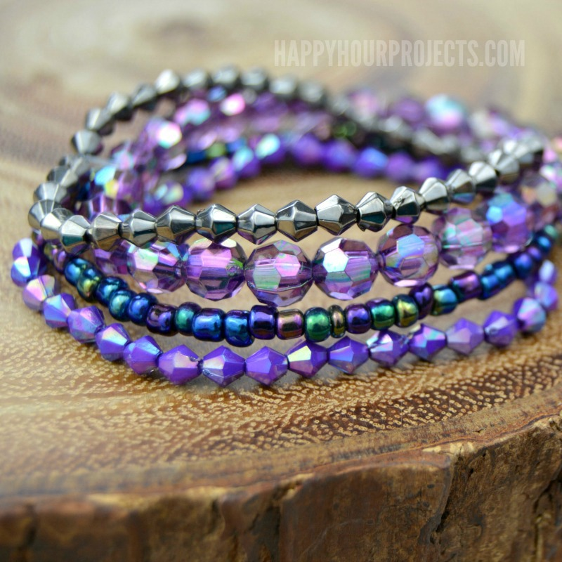 DIY Stacked Bracelets for Beginners at happyhourprojects.com