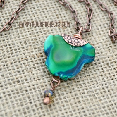 Copper + Agate Gemstone Necklace | Free Tutorial at happyhourprojects.com