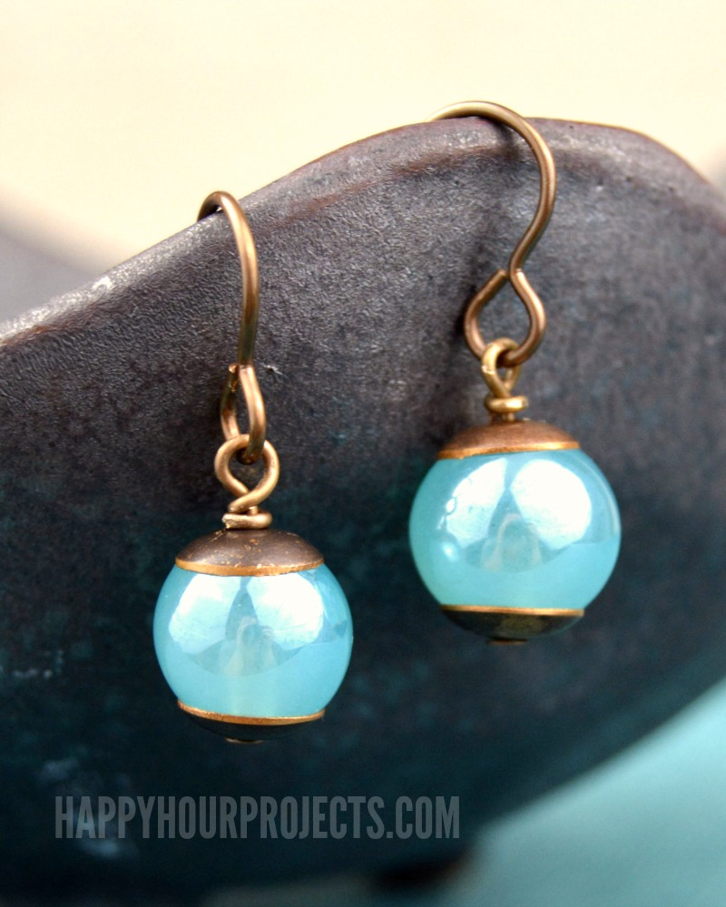 Blue & Brass Cap Easy DIY Earrings at happyhourprojects.com