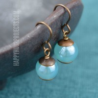 Blue & Brass Cap Easy DIY Earrings