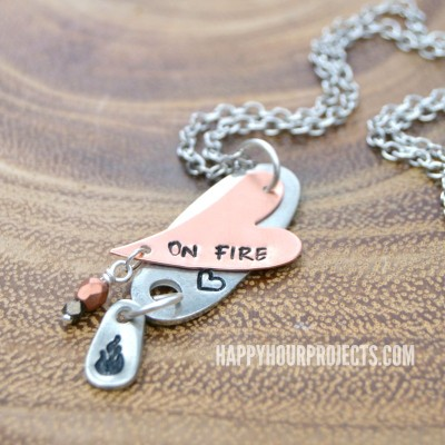 Hearts On Fire Hand Stamped Necklace