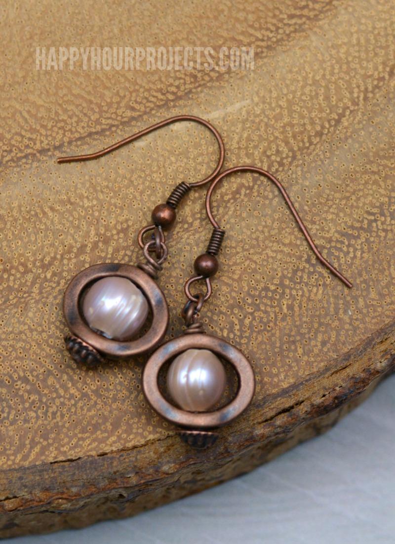 Copper & Pearl DIY Earrings | happyhourprojects.com