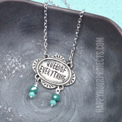 Queen of Everything Hand Stamped Necklace