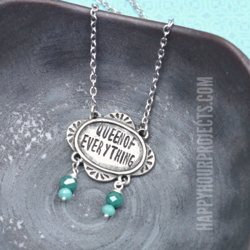 Queen of Everything Hand Stamped Necklace | Learn metal stamping at happyhourprojects.com