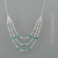 Triple Strand Crystal + Pewter DIY Necklace