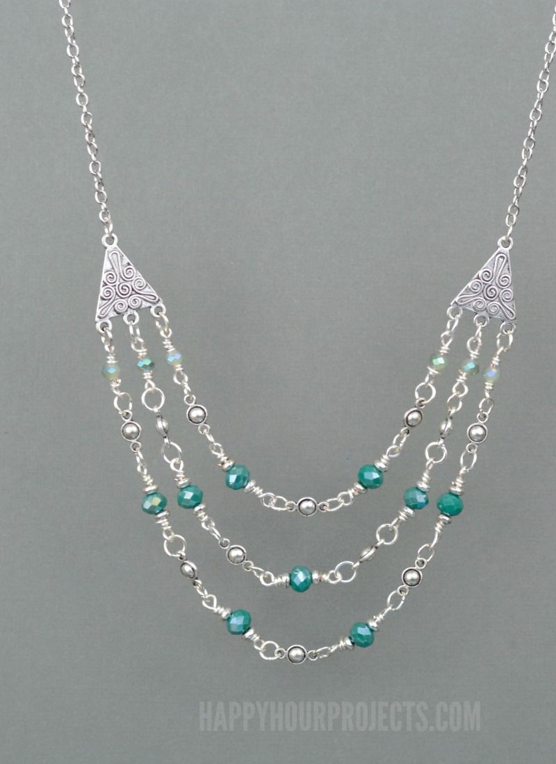 Triple Strand Crystal + Pewter DIY Necklace at happyhourprojects.com