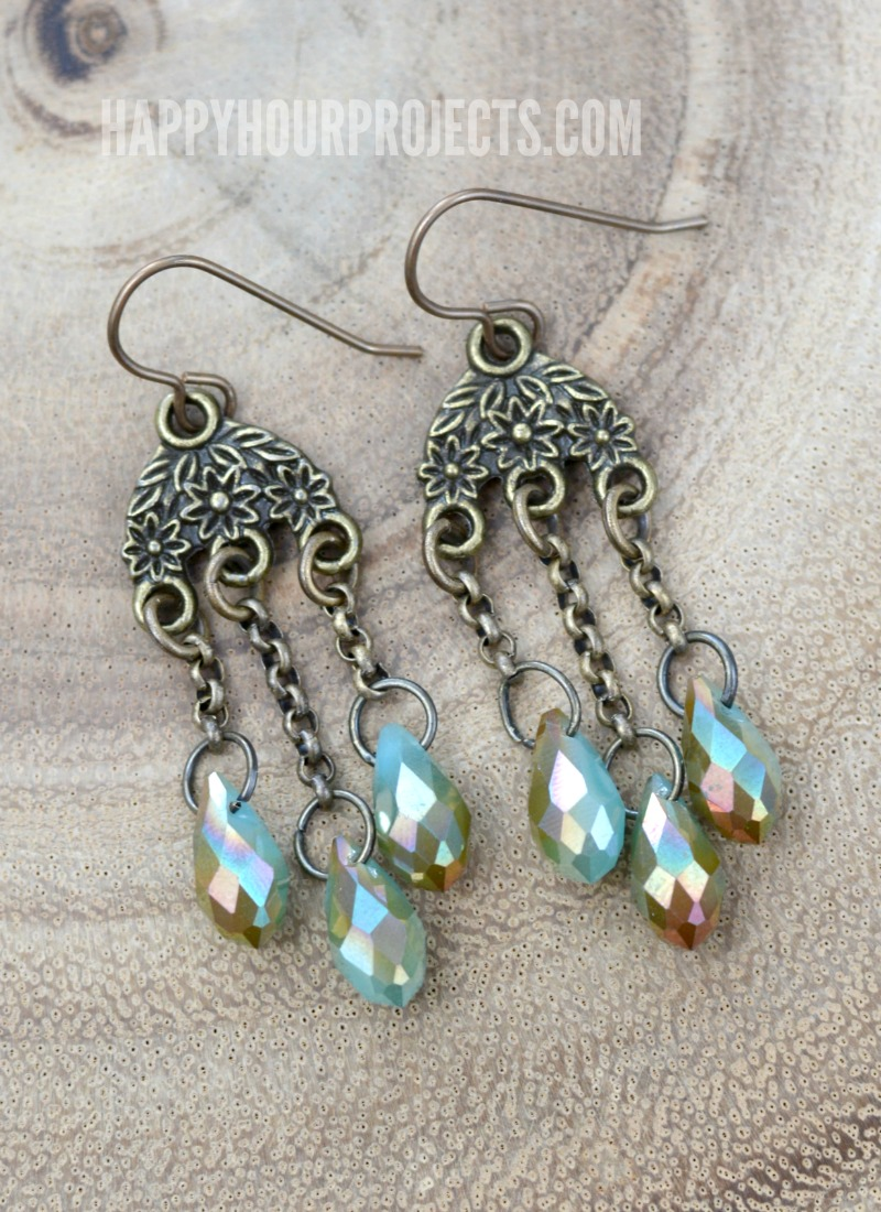 Brass + Crystal Teardrop DIY Earrings | happyhourprojects.com