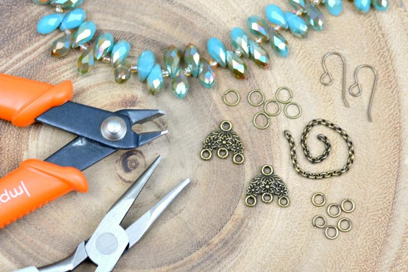 Brass + Crystal Teardrop DIY Earrings | happyhourprojects.com
