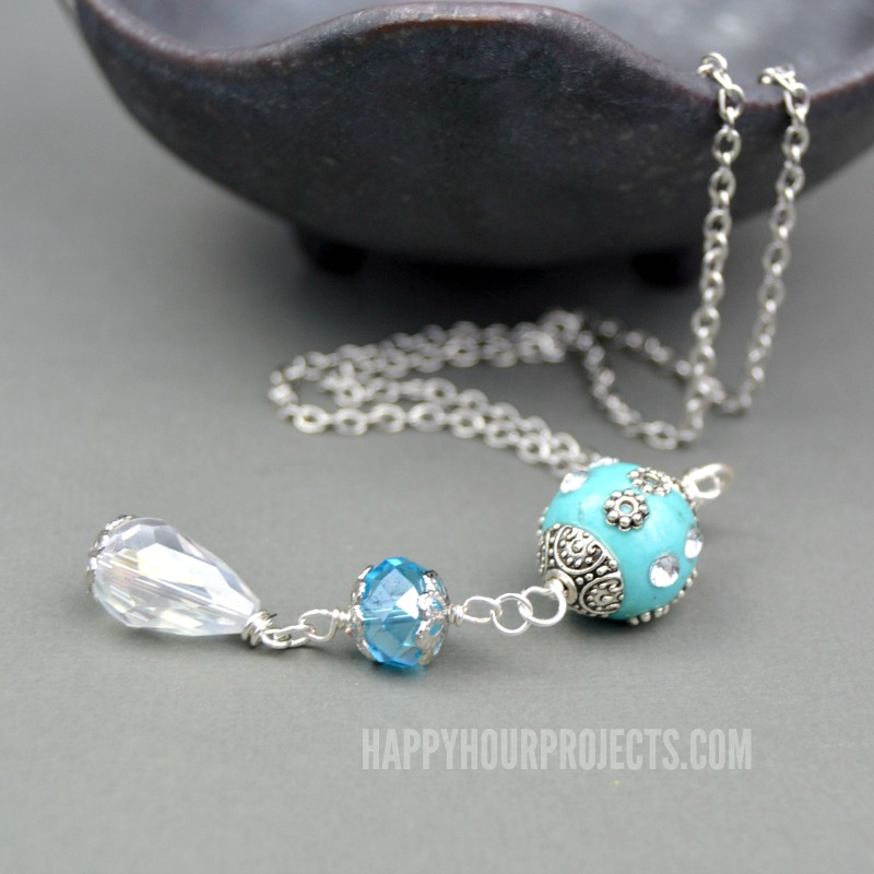 DIY Necklace   Easy Crystal Drop combo at happyhourprojects.com