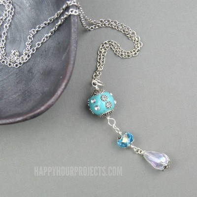 DIY Necklace | Easy Crystal Drop combo at happyhourprojects.com