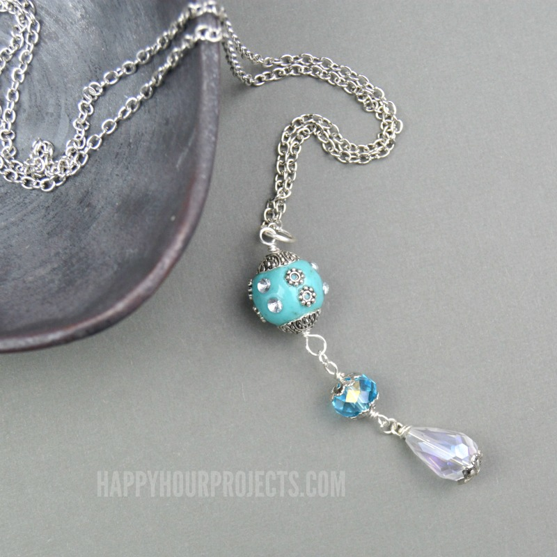 Easy Crystal Drop Necklace - Happy Hour Projects