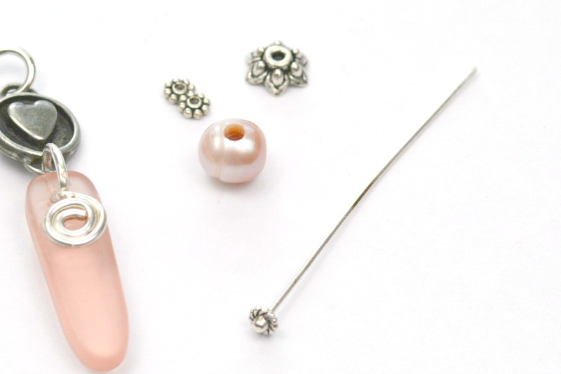 Sea Glass + Pearl Charm Necklace at happyhourprojects.com