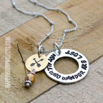 Hand Stamped Necklace | Not All Who Wander Are Lost at happyhourprojects.com