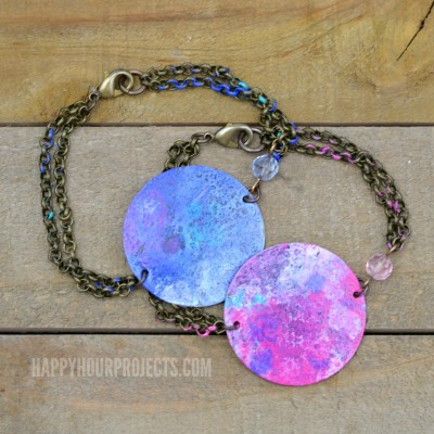 Colorful Patina Painted DIY Bracelets