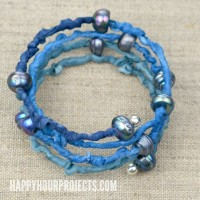Silk + Pearl DIY Memory Wire Bracelet