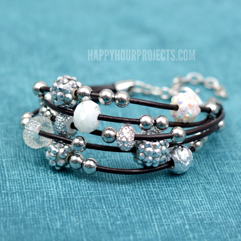 DIY Leather Bracelet + Bling Beads at happyhourprojects.com