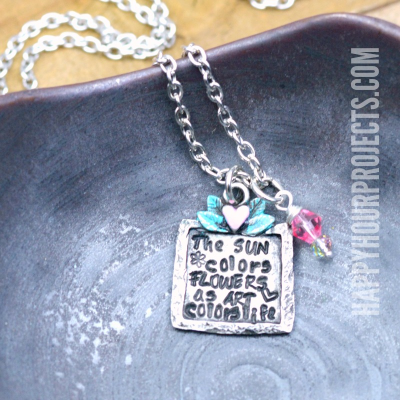 The Sun Colors Flowers as Art Colors Life Hand Stamped Necklace Tutorial at happyhourprojects.com