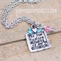 Art Colors Life Floral Hand Stamped Necklace