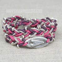 Silk + Pewter Heart Wrap Bracelet Tutorial at happyhourprojects.com