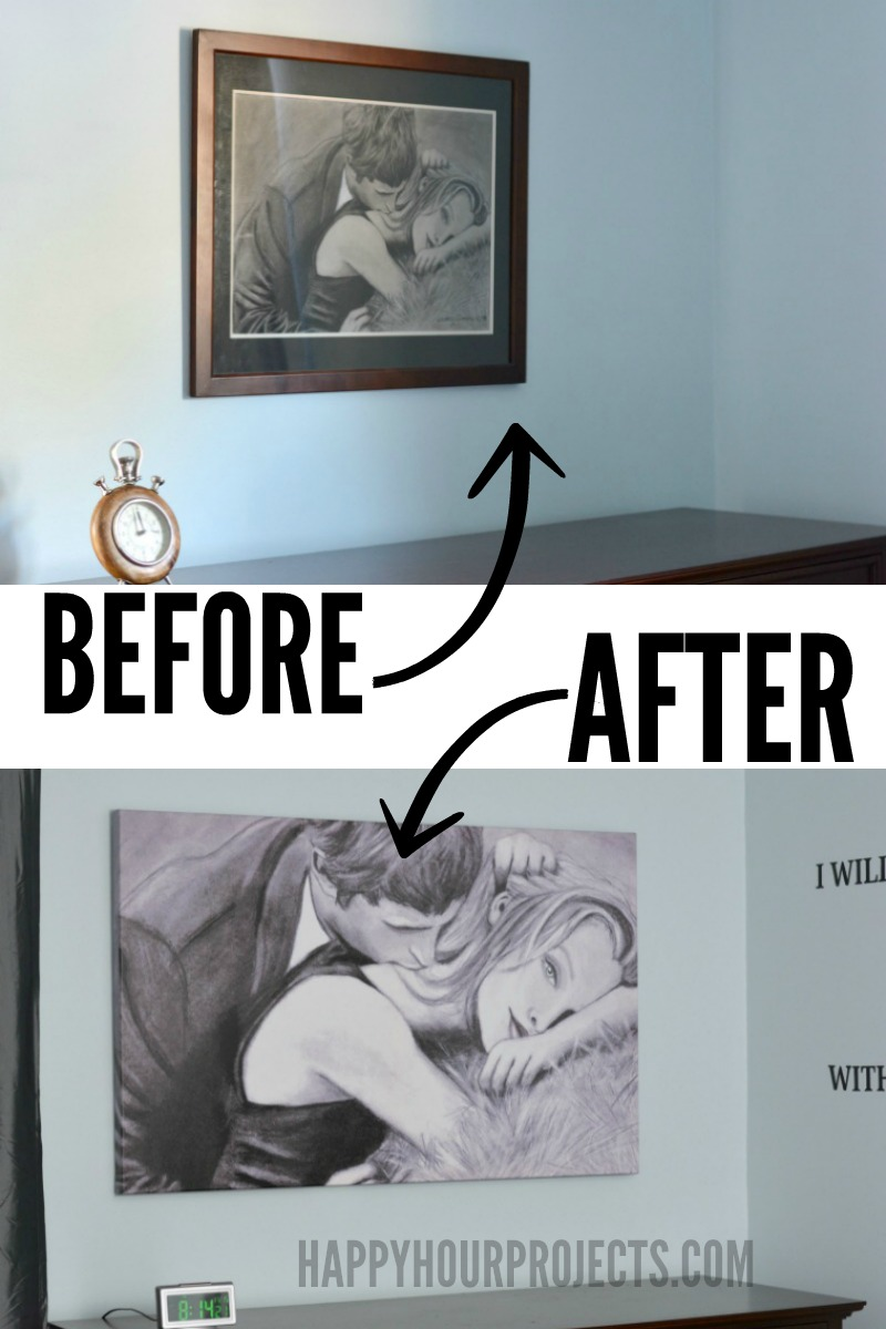 Update your art! Convert prints and sketches to canvas for a fine-art look on a budget - get the scoop at happyhourprojects.com