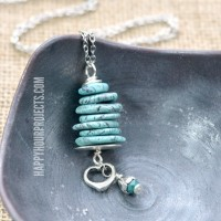 Stacked Stone + Pewter Pendant
