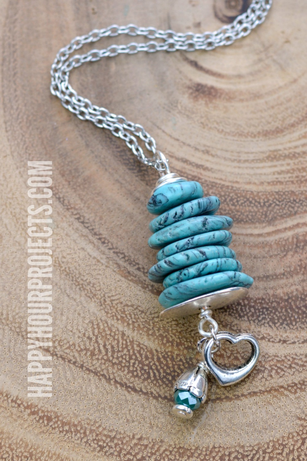 Stacked Stone + Pewter Pendant at happyhourprojects.com