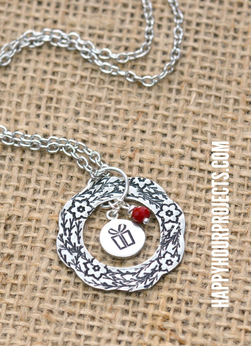 Hand stamped jewelry design stamps wreath necklace for How do you make hand stamped jewelry