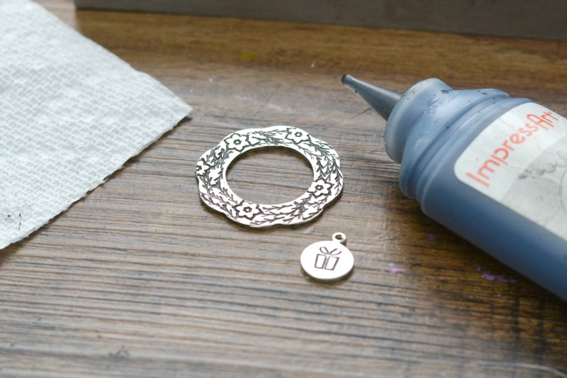 Hand Stamped Jewelry | Wreath Design Stamp Necklace at happyhourprojects.com