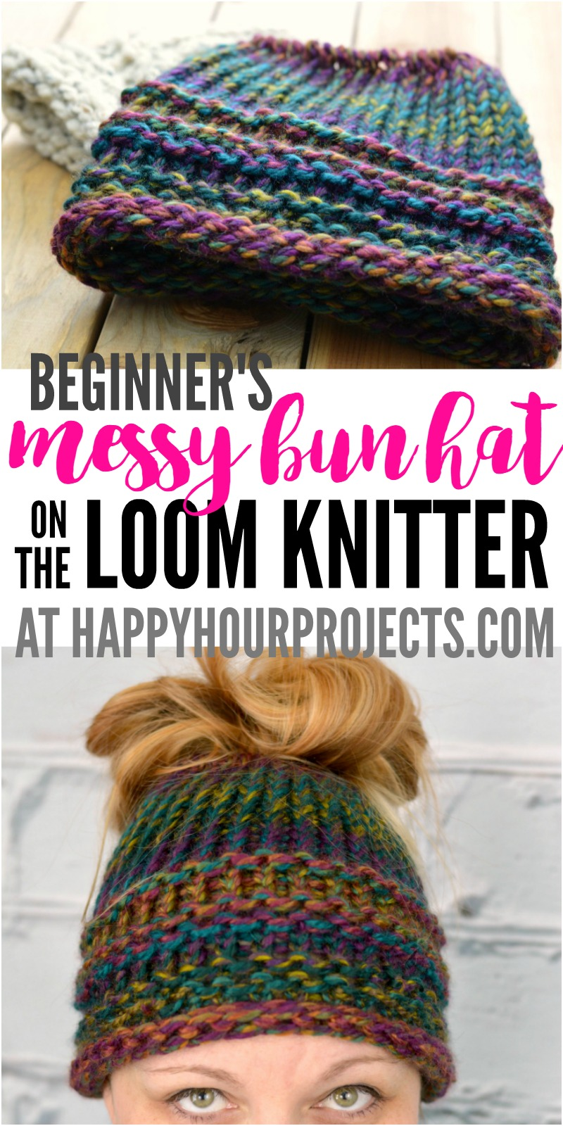 Beginners Messy Bun Hat Using the Loom Knitter at happyhourprojects.com  abd513e1abe