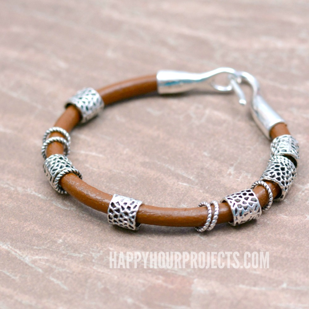 Boho Bangles | DIY leather bracelet with pewter beads and rings - tutorial at happyhourprojects.com
