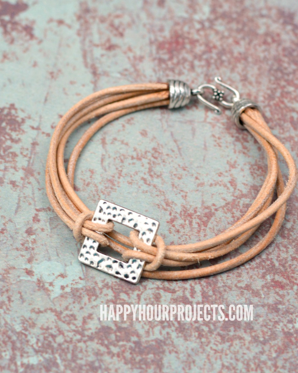 Layers Of Leather Pewter Diy Leather Bracelet Happy