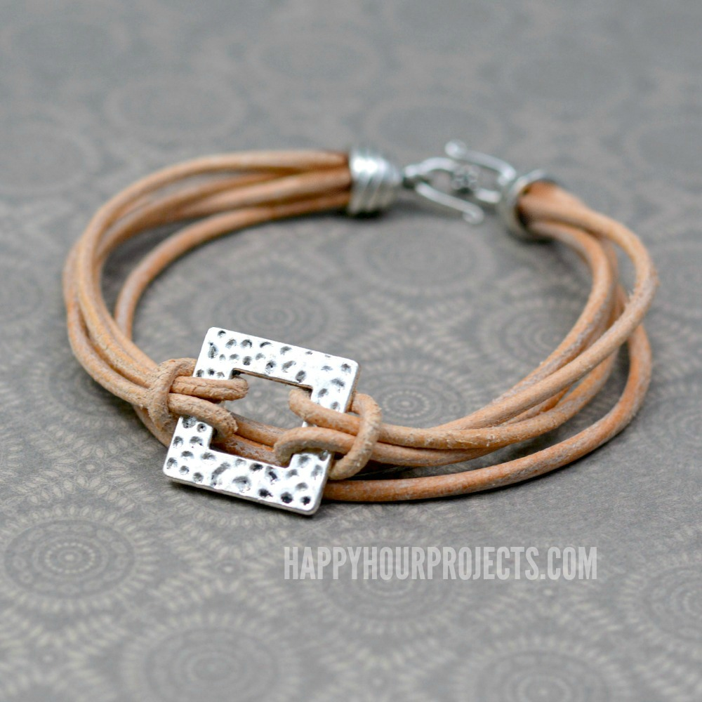 Layers of Leather | Multi-Strand Leather + Pewter Bracelet at happyhourprojects.com