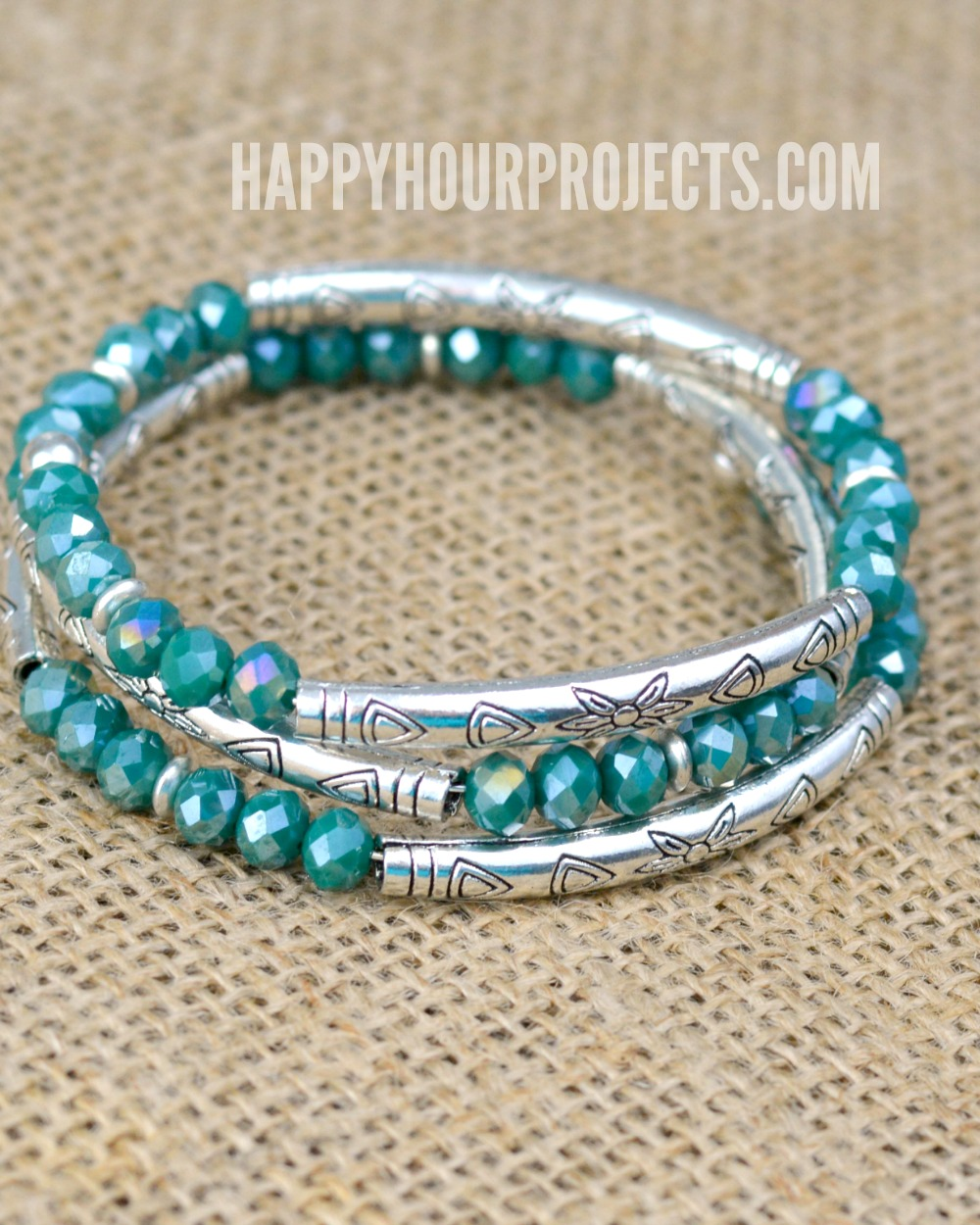 Crystal Bead Diy Memory Wire Bracelet At Hyhourprojects
