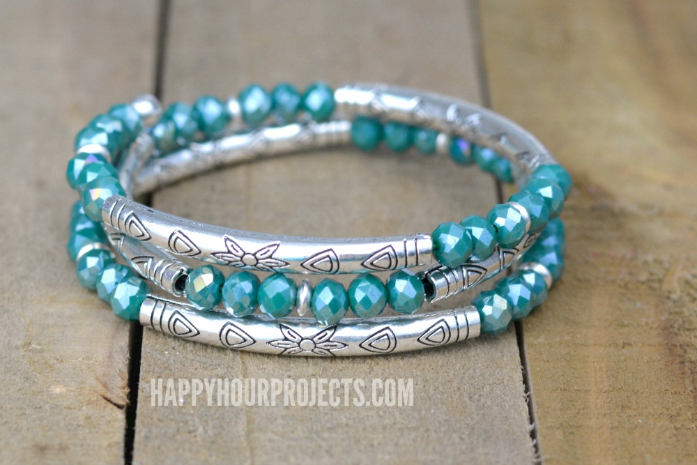 Crystal + Tube Bead DIY Memory Wire Bracelet - Happy Hour Projects