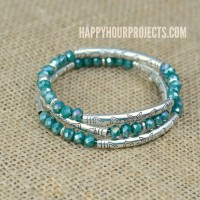 Crystal + Tube Bead DIY Memory Wire Bracelet at happyhourprojects.com