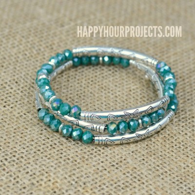 Crystal + Tube Bead DIY Memory Wire Bracelet