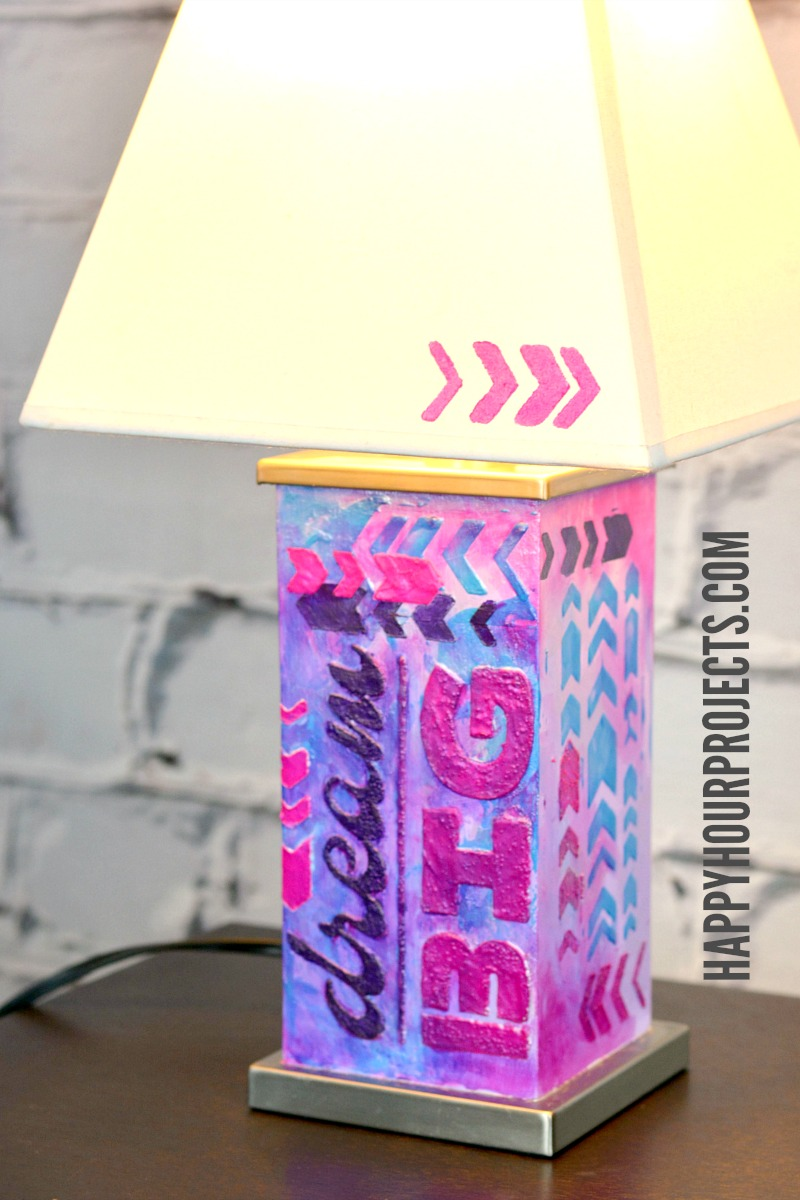 DIY Home Decor | Mixed Media Lamp with Dream Big Theme at happyhourprojects.com