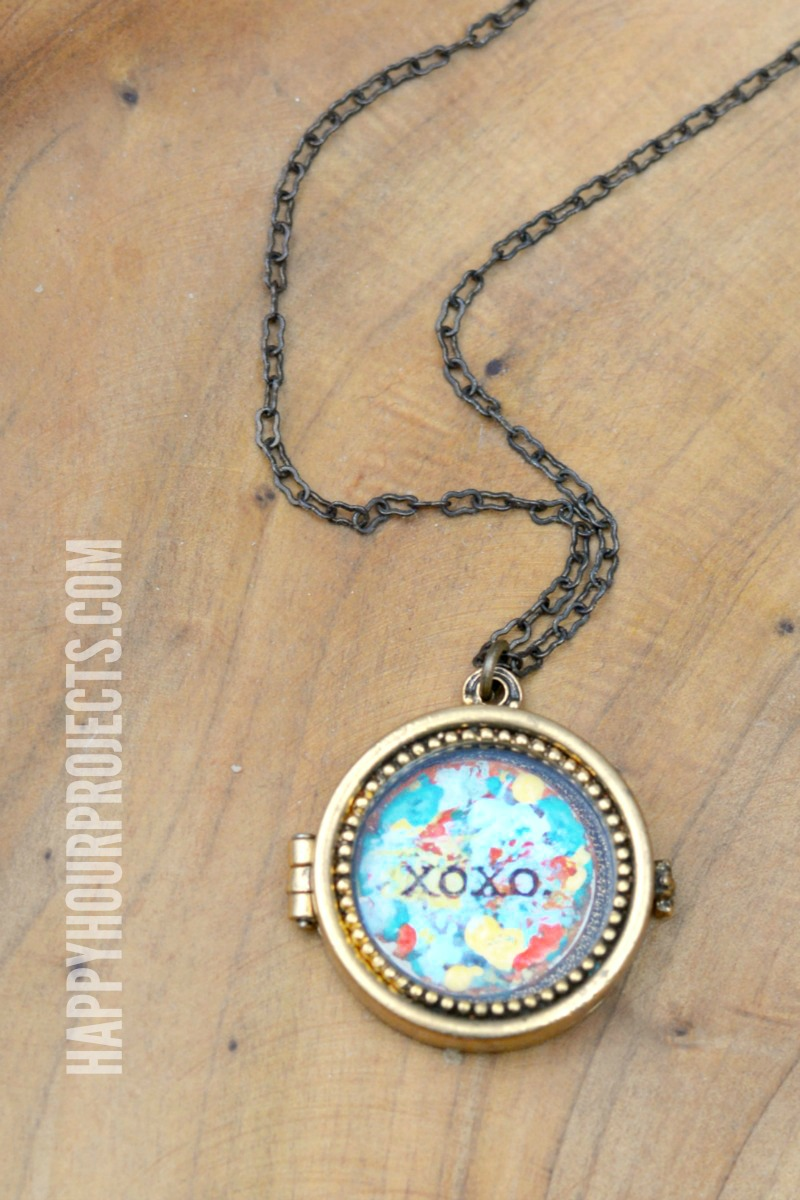 Quick Mother's Day Crafts | Colorful DIY Glass Locket at happyhourprojects.com