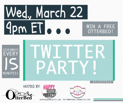 #SleepTalk Twitter Chat TONIGHT with OtterBed Giveaway
